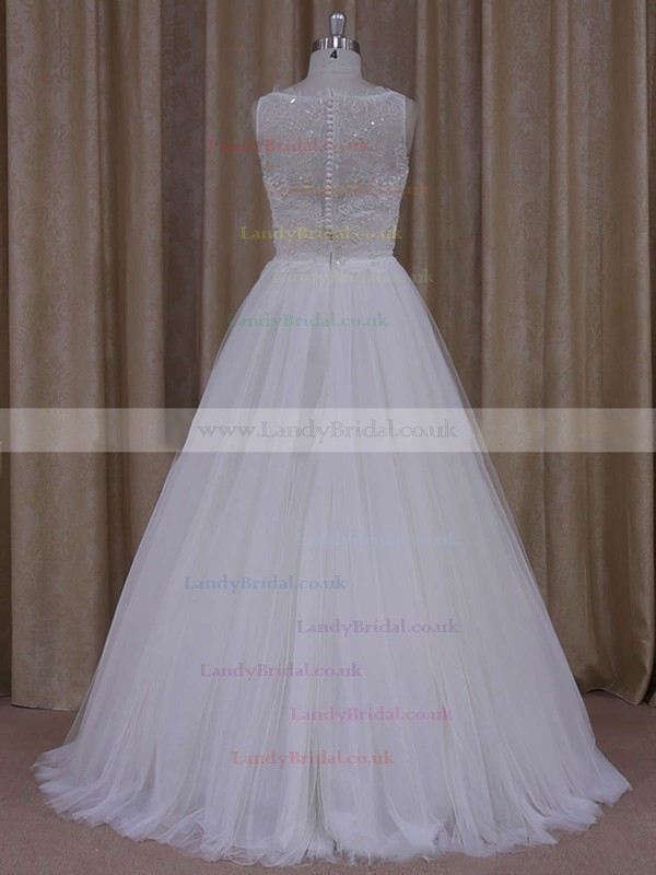 Princess Tulle Scoop Neck Appliques Lace Covered Button Nice Wedding Dress #LDB00021812