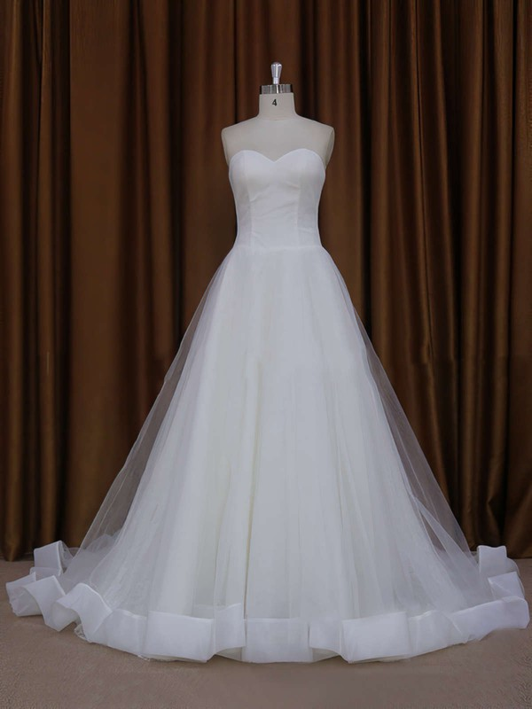 Beautiful Ball Gown Sweetheart Tulle Ivory Chapel Train Wedding Dress #LDB00021813