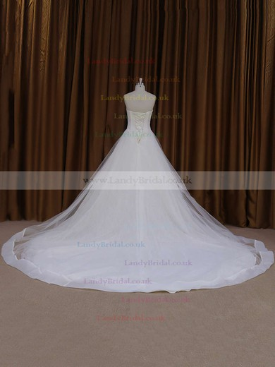Beautiful Ball Gown Sweetheart Tulle Ivory Chapel Train Wedding Dress #LDB00021813