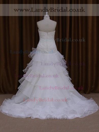 Princess Sweetheart Tiered Tulle Court Train Gorgeous Wedding Dress #LDB00021824