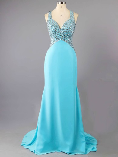 Discount Backless Trumpet/Mermaid Chiffon Crystal Detailing Blue Sweetheart Prom Dress #LDB02016038