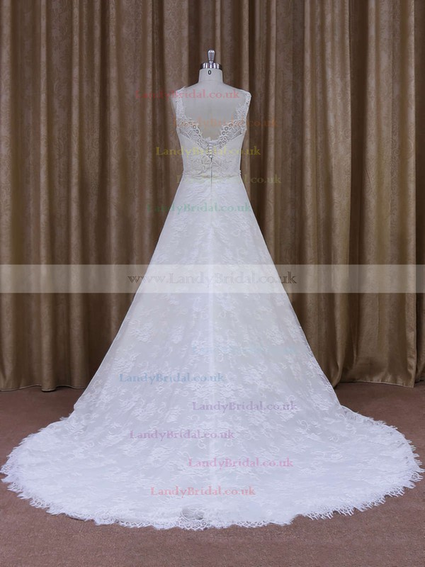 Scoop Neck Princess Court Train Amazing White Lace Wedding Dress #LDB00021828