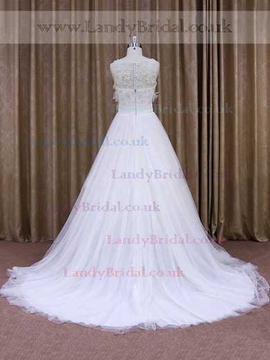 Latest Tulle Appliques Lace Scoop Neck Ball Gown Wedding Dress #LDB00021830