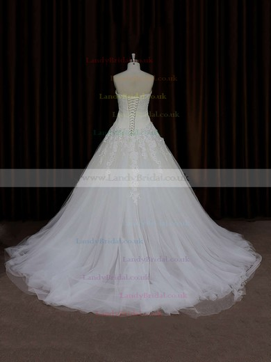 Ball Gown Tulle Court Train Appliques Lace Ivory Elegant Wedding Dress #LDB00021835
