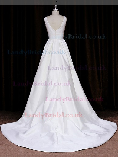 Modest Scoop Neck White Taffeta with Sashes / Ribbons Court Train Wedding Dresses #LDB00021836