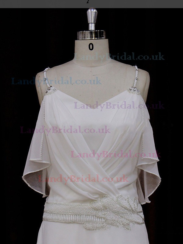 Watteau Train Ivory Chiffon Beading Spaghetti Straps V-neck Wedding Dress #LDB00021837