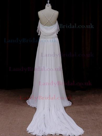 Watteau Train Ivory Chiffon Beading Spaghetti Straps V-neck Wedding Dress #LDB00021837