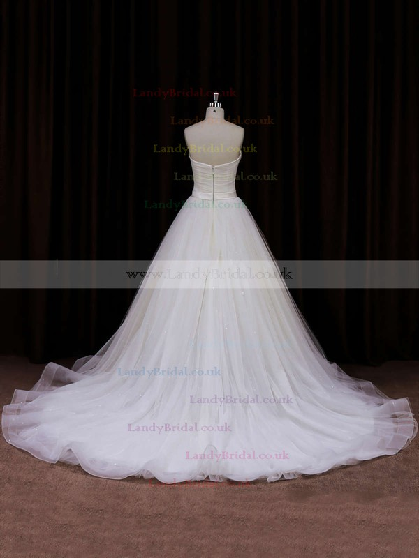 Ivory Sweetheart Tulle with Sashes / Ribbons Chapel Train Unique Wedding Dresses #LDB00021840