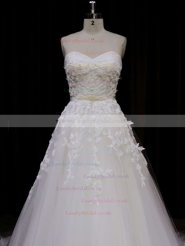 Chapel Train Ivory Tulle Appliques Lace Lace-up Sweetheart Wedding Dress #LDB00021849
