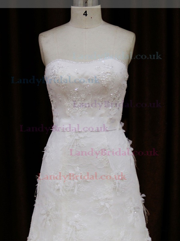 Sweetheart Lace-up Lace Tulle Sashes / Ribbons Ivory Sheath/Column Wedding Dresses #LDB00021850