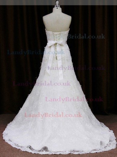 Sweetheart Lace-up Lace Tulle Sashes / Ribbons Ivory Sheath/Column Wedding Dresses #LDB00021850