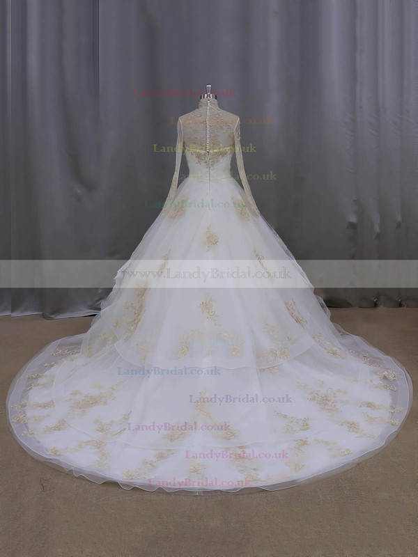 Ball Gown Long Sleeve Tulle Appliques Lace High Neck Covered Button Wedding Dresses #LDB00021852