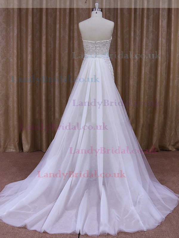 Sheath/Column Ivory Elegant Tulle Satin Sashes / Ribbons Detachable Wedding Dress #LDB00021853