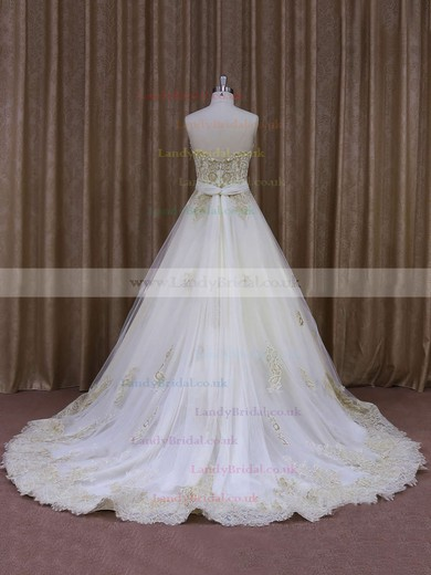 Simple Court Train Ivory Tulle Appliques Lace Strapless Wedding Dresses #LDB00021854