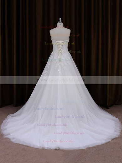 Sweetheart Lace-up Tulle Appliques Lace Court Train Affordable Wedding Dress #LDB00021855