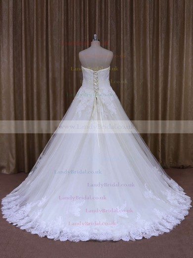 Ivory Strapless Tulle Appliques Lace Lace-up Court Train Wedding Dresses #LDB00021856