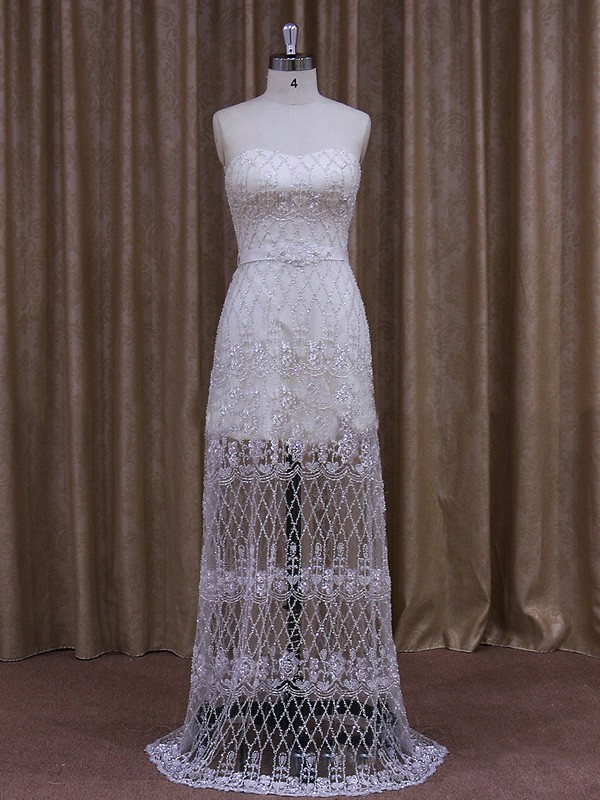 Wholesale Sheath/Column Ivory Tulle Detachable Sashes / Ribbons Wedding Dress #LDB00021867