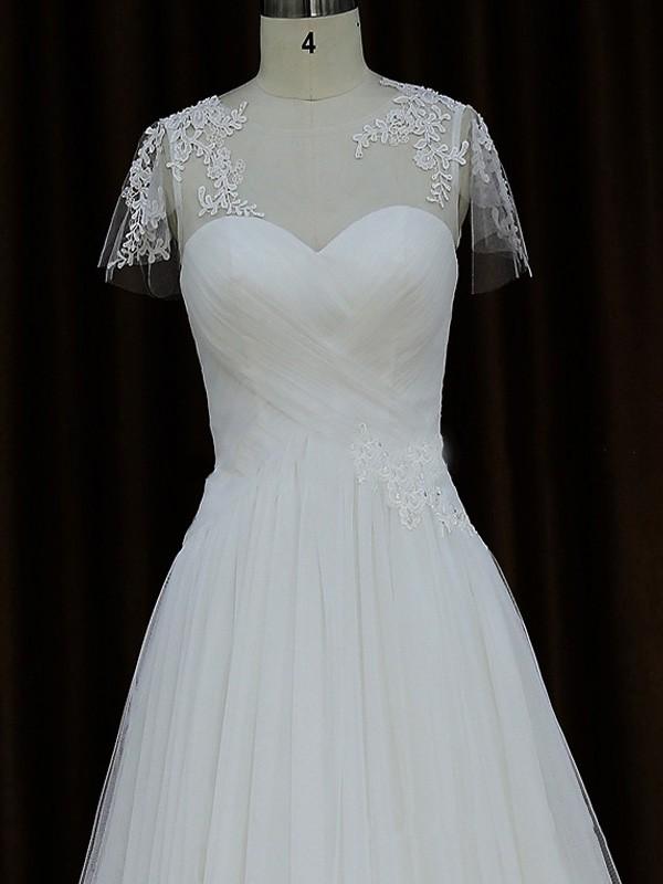Scoop Neck Cap Straps Tulle Appliques Lace Court Train Ivory Wedding Dresses #LDB00021876