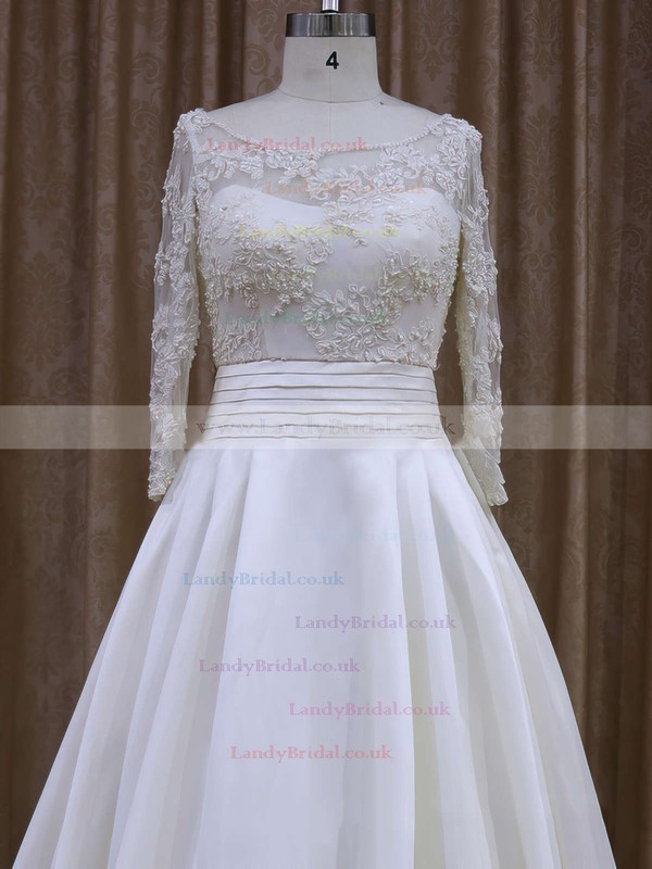 Long Sleeve Scoop Neck Ivory Taffeta Appliques Lace Court Train Wedding Dress #LDB00021877