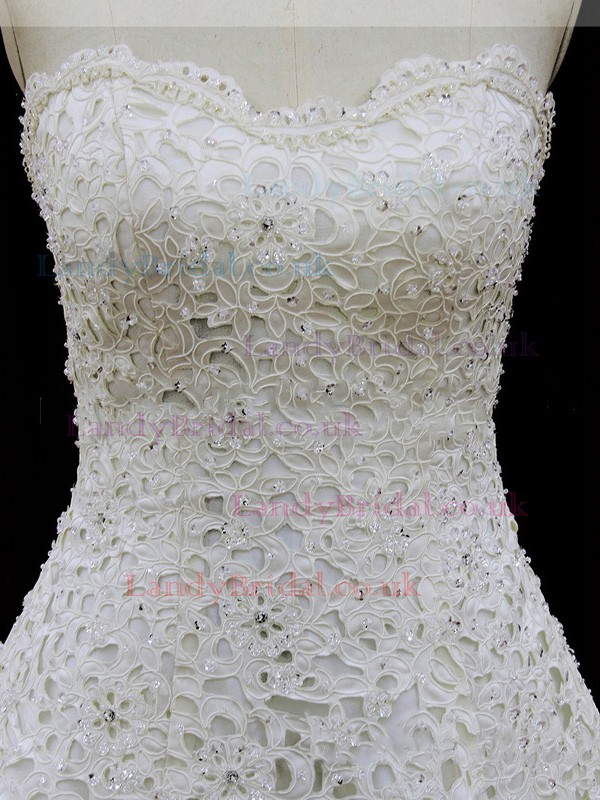 Ivory Chapel Train Lace with Beading and Bow Sweetheart Wedding Dresses #LDB00021887