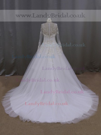 Scoop Neck Tulle Appliques Lace Long Sleeve Chapel Train Ivory Wedding Dress #LDB00021890