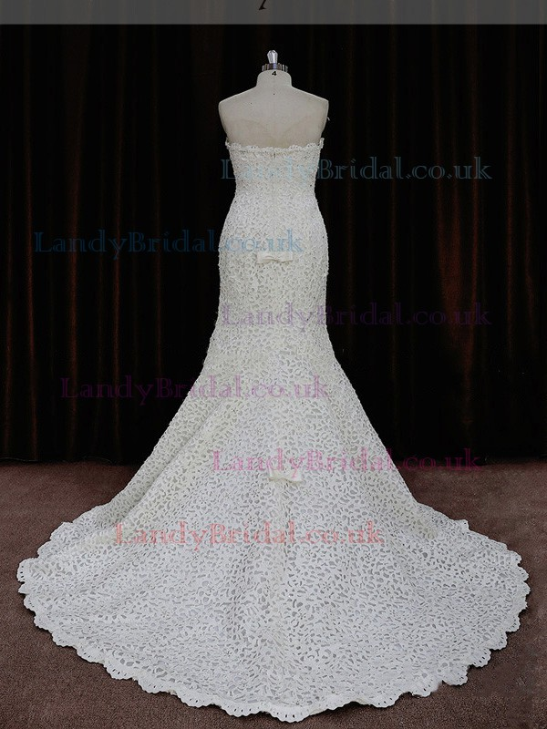 Promotion Trumpet/Mermaid Ivory Lace Sequins Strapless Wedding Dresses #LDB00021893