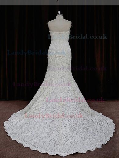 Promotion Trumpet/Mermaid Ivory Lace Sequins Strapless Wedding Dresses #LDB00021893