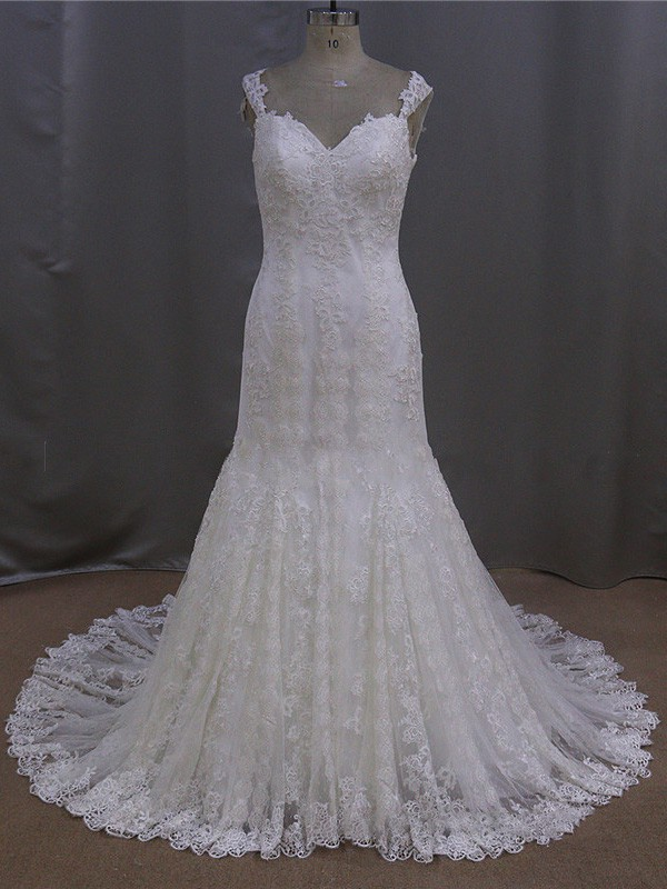 Court Train Open Back Ivory Lace Tulle Appliques Lace V-neck Wedding Dress #LDB00021894