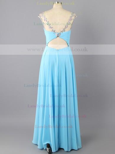 Empire Scoop Neck Blue Cap Straps Chiffon Beading Newest Long Prom Dress #LDB02016744