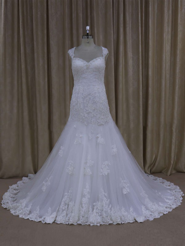 Sweetheart Cap Straps White Lace Tulle Appliques Lace Trumpet/Mermaid Wedding Dresses #LDB00021895