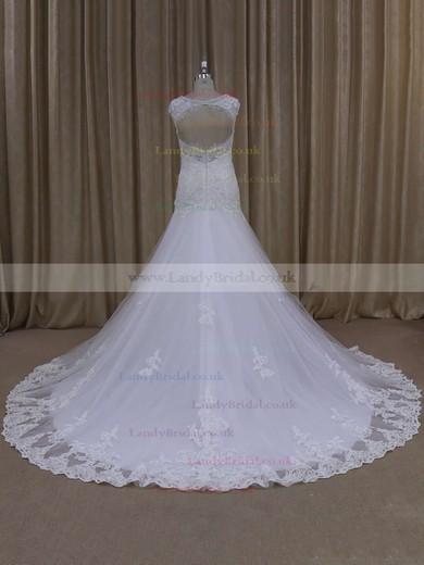Sweetheart Cap Straps White Lace Tulle Appliques Lace Trumpet/Mermaid Wedding Dresses #LDB00021895