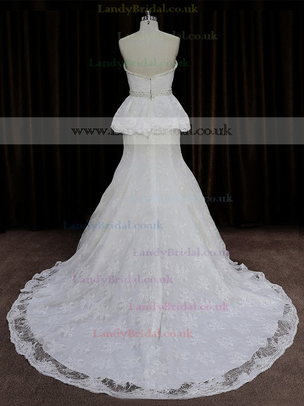 Ivory Sweetheart Lace Beading Trumpet/Mermaid Perfect Wedding Dress #LDB00021896