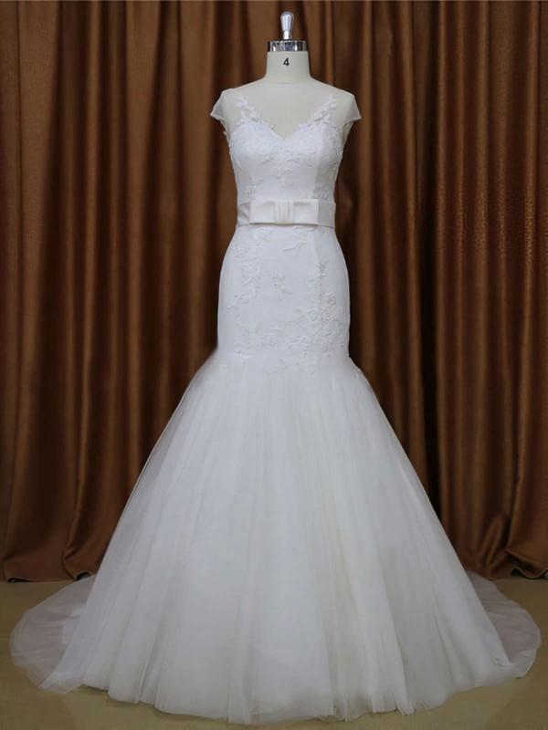Court Train V-neck Tulle Appliques Lace White Cap Straps Wedding Dresses #LDB00021899
