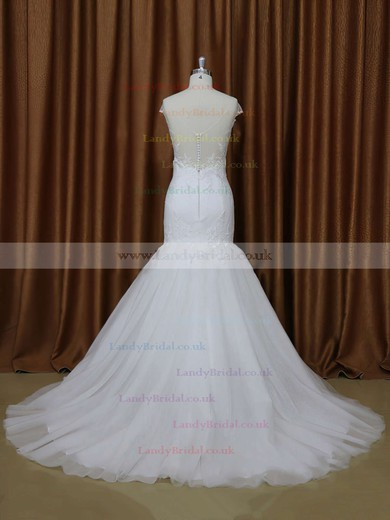 Court Train V-neck Tulle Appliques Lace White Cap Straps Wedding Dresses #LDB00021899