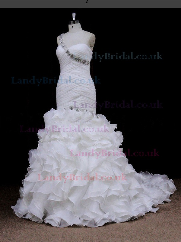 Ivory Chapel Train Organza Pleats Covered Button One Shoulder Wedding Dress #LDB00021900