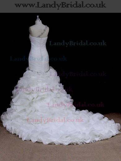 Ivory Chapel Train Organza Pleats Covered Button One Shoulder Wedding Dress #LDB00021900