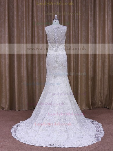 Discounted Trumpet/Mermaid Lace Tulle Beading Covered Button Scoop Neck Wedding Dresses #LDB00021903