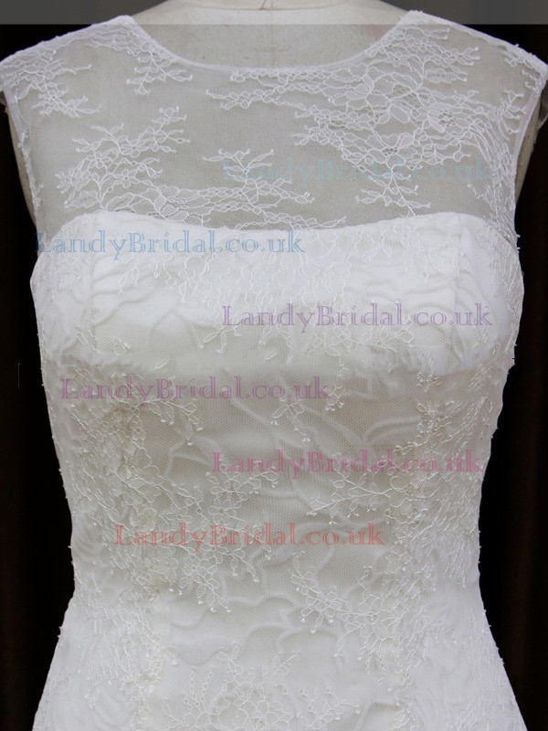 Trumpet/Mermaid Ivory Lace Tulle Appliques Lace Scoop Neck Cap Straps Wedding Dresses #LDB00021904