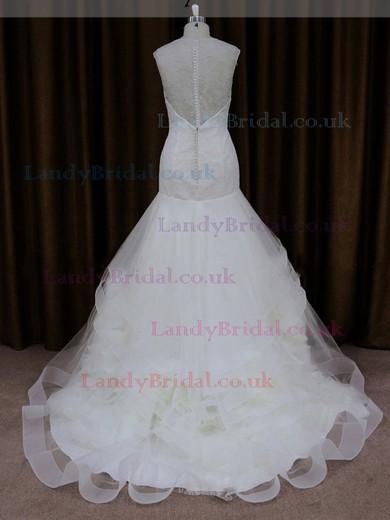 Trumpet/Mermaid Ivory Lace Tulle Appliques Lace Scoop Neck Cap Straps Wedding Dresses #LDB00021904