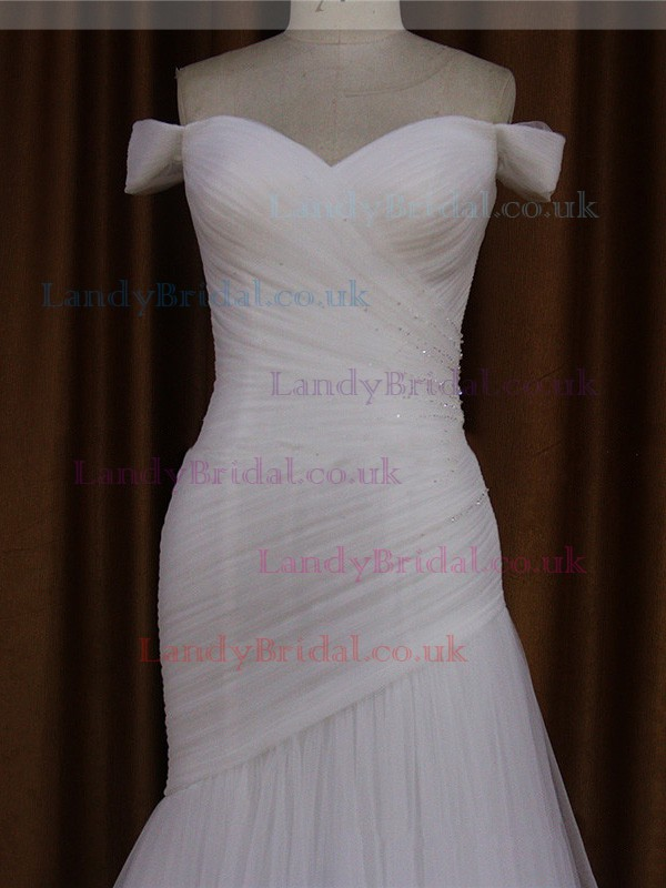 Floor-length Fashion Ivory Tulle Beading Off-the-shoulder Wedding Dress #LDB00021905