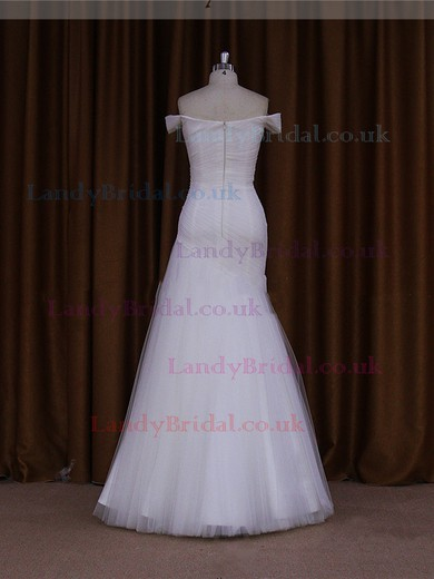 Floor-length Fashion Ivory Tulle Beading Off-the-shoulder Wedding Dress #LDB00021905