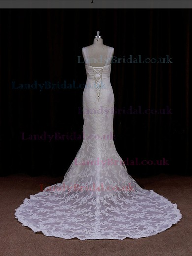 Ivory Sweetheart Lace Tulle Appliques Lace Trumpet/Mermaid Lace-up Wedding Dresses #LDB00021906