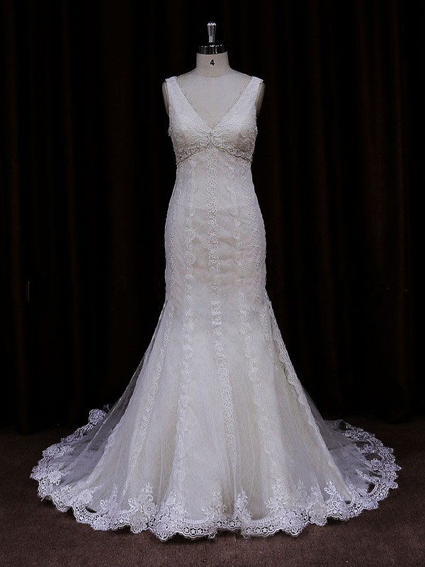 Trumpet/Mermaid Different Lace Tulle Appliques Lace V-neck Ivory Wedding Dress #LDB00021907