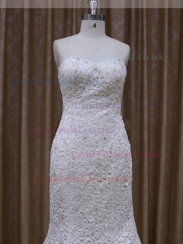 Sweetheart Lace Sequins Trumpet/Mermaid Lace-up Ivory Wedding Dresses #LDB00021908