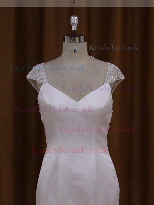 V-neck Cap Straps Taffeta Beading Chapel Train Covered Button Wedding Dress #LDB00021911