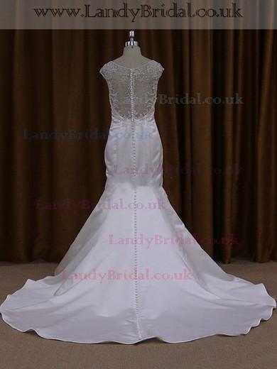 V-neck Cap Straps Taffeta Beading Chapel Train Covered Button Wedding Dress #LDB00021911