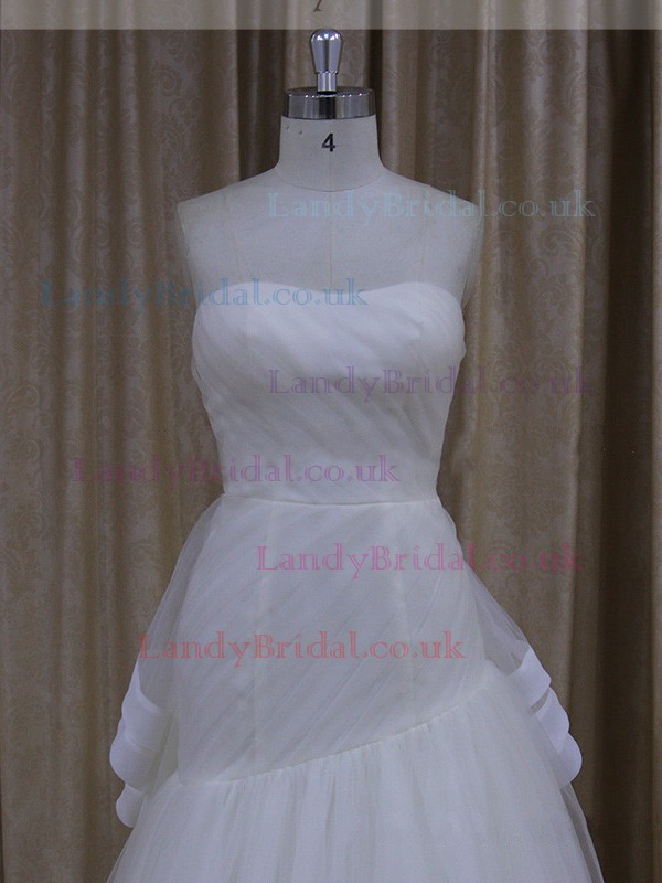 Ivory Watteau Train Tulle Ruffles Exclusive Sweetheart Wedding Dresses #LDB00021914