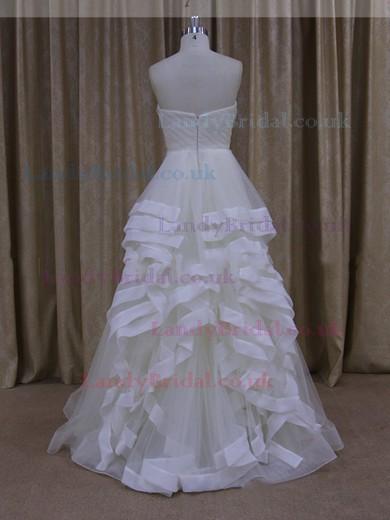Ivory Watteau Train Tulle Ruffles Exclusive Sweetheart Wedding Dresses #LDB00021914
