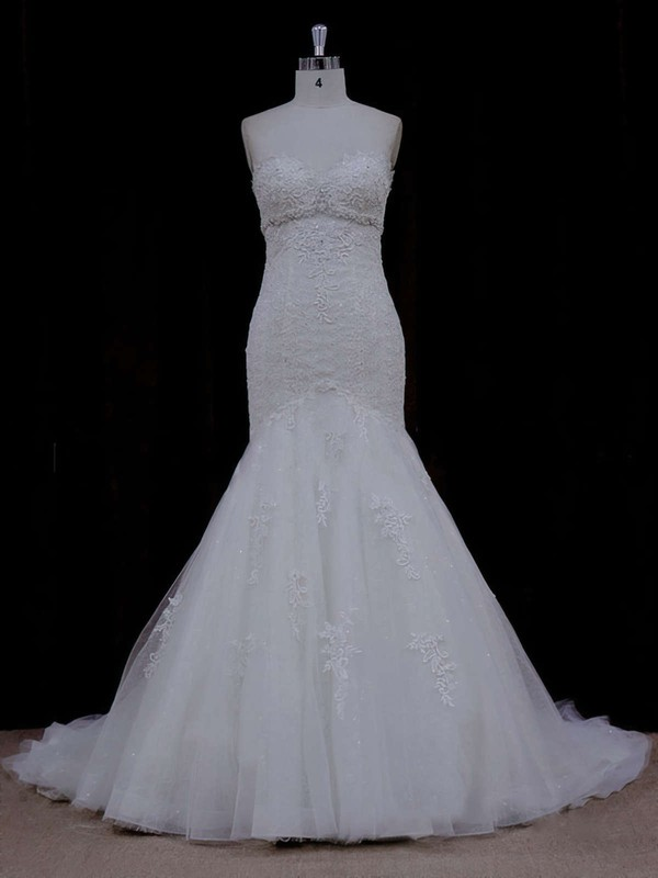 Trumpet/Mermaid For Less Lace Tulle Beading Ivory Sweetheart Wedding Dress #LDB00021915