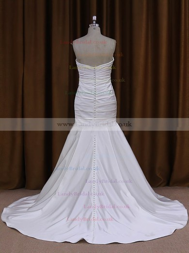 Sweetheart Taffeta Ruffles Covered Button Trumpet/Mermaid Ivory Wedding Dresses #LDB00021916